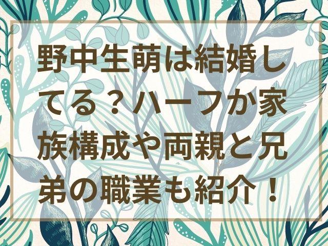 野中生萌は結婚してる?ハーフか家族構成や両親と兄弟の職業も紹介!